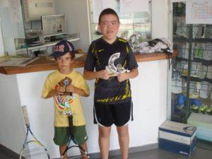 António Brito e Miguel Neto (campeão e vice-campeão do Torneio da Liga Juvenil - mini-ténis)